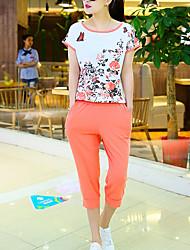 De las mujeres Activo Deportes Verano Conjunto,Escote Redondo Floral Manga Corta Algodón Azul / Rojo / Naranja Fino