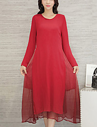 Women's Casual /Holiday Simple Loose /Swing Dress,Solid / Patchwork False Two Long Sleeve Red Cotton /Linen Spring /Fall