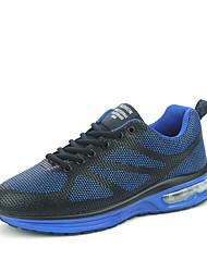 Femme-Extérieure / Décontracté / Sport-Noir / Bleu / Rouge-Talon Plat-Confort-Sneakers-Cuir