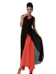 Summer/Fall Party/Cocktail Women's Dresses V Neck Sleeveless Hit Color Splicing Chiffon/Swing Dress
