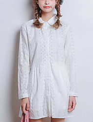 Women's Going out Cute A Line Dress,Solid Shirt Collar Above Knee Long Sleeve White Polyester Summer