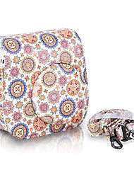 bloem pu lederen tas tas voor Fujifilm instax mini 8 instant film camera, wit