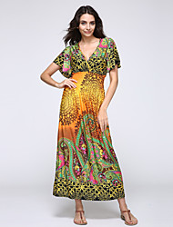 Women's Boho Beach Boho Swing Dress,Paisley V Neck Maxi Short Sleeve Blue/Pink/Yellow Cotton/Polyester Summer High Rise Micro-elastic