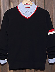 Men's Color Block Casual Pullover,Cotton Long Sleeve Black / Gray