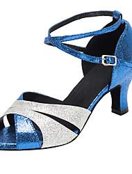 Chaussures de danse(Bleu) -Non Personnalisables-Talon Cubain-Paillette Brillante-Latine / Salsa