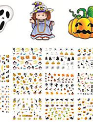 11 Designs Nail Art 3D Emulational Halloween Stickers Interesting Pumpkin Ghost Nail Decoration E057-067