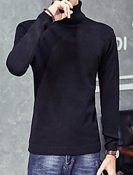 Men's Casual/Daily Pullover,Solid Long Sleeve Wool