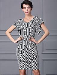 Baoyan® Women's Round Neck Short Sleeve Above Knee Dress-888038