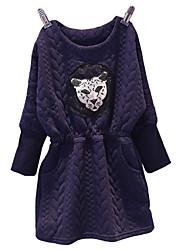 Girl's Cotton  Spring/Autumn Cartoon Pattern Long Sleeve Tight Dress