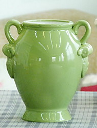 American Country Green Ceramic Binaural Vase Flower Pots For Home Decoration