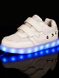 Girl's Sneakers Spring Summer Fall Winter Comfort Light Up Shoes Tulle Fabric Athletic Flat Heel LED Black White Walking