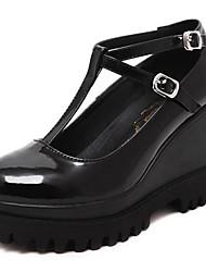 Women's Heels Spring / Fall Wedges / Heels Leatherette Outdoor Wedge Heel Buckle Black Others