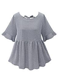 Mulheres Blusa Casual / Tamanhos Grandes Simples / Moda de Rua Verão,Xadrez Cinza Algodão Decote Redondo Meia Manga Média