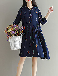 Maternity Casual/Daily Simple Loose Dress,Solid Asymmetrical Above Knee ½ Length Sleeve Blue Spandex Summer