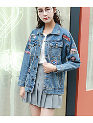 Women's Casual/Spring / Fall Denim Jackets,Embroidered Shirt Collar Long Sleeve Blue Cotton Medium