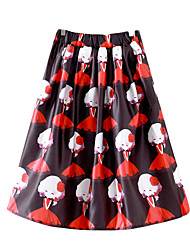 Women's Print White / Black Skirts,Cute / Chinoiserie Knee-length