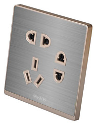 cinza metal escovado interruptor da tomada de sete orifícios (Q5)