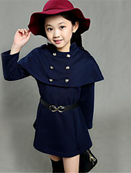 Girl's Casual/Daily Solid Trench Coat,Cotton Winter Blue / Red