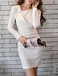 DABUWAWA® Mujer Escote Redondo Manga Larga Asimétrico Vestidos-D15CDR024