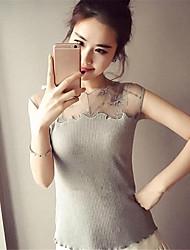 Tee-shirt Aux femmes,Couleur Pleine Décontracté / Quotidien Sexy Eté / Automne Manches Courtes Col Arrondi Blanc / Noir / Gris Polyester