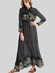 Women's Casual/Daily Vintage Swing Dress,Floral Stand Maxi Long Sleeve Black Polyester Fall / Winter