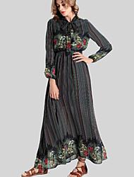 Mulheres Swing Vestido,Casual Vintage Floral Colarinho Chinês Longo Manga Longa Preto Poliéster Outono / Inverno