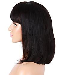 10-14 pouces couleur naturelle noir perruque courte bob lumière yaki droite brazilian vierge cheveux humains dentelle frontale perruque