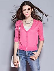 las mujeres Sybel de salir / chinesca chaqueta corta, sólido de color rosa / rojo de cuello v / blanco ½ rayón longitud de la manga