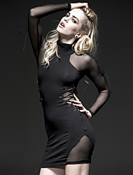 punky delirio q-230 de la vendimia de las mujeres / atractivo de la manga larga micro-elástico sobre el vestido de la rodilla (spandex)