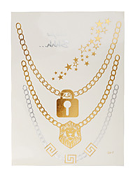 1pc Gold Silver Temporary Metallic Tattoo Jewel Inspired Sexy Luxury Necklace Lion Lock Star Letters J45