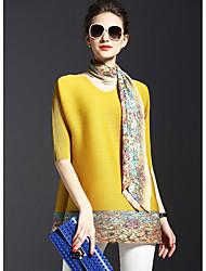 Damen Solide Anspruchsvoll Lässig/Alltäglich T-shirt,V-Ausschnitt Frühling ½ Länge Ärmel Mehrfarbig Polyester Mittel