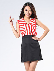 Boutique S Women's Formal Simple Sheath DressStriped V Neck Above Knee Sleeveless Red / Black