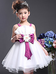 Ballet Dresses Children's Performance Cotton Bow(s) 1 Piece Fuchsia / Purple Ballet Sleeveless High Dress