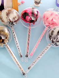 Creative Stationery Cute Leopard Grain Fur Ball Pen Needle Tube Plush Gel Pen (Random Color)