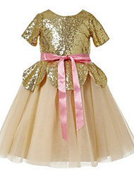 Ball Gown Knee-length Flower Girl Dress - Sequined Short Sleeve Jewel with Sash / Ribbon