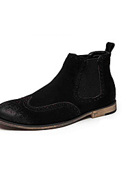 Men's Sneakers Spring / Fall Motorcycle Boots / Round Toe Suede Casual Flat Heel Black / Brown / Gray Walking / Others