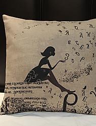 Lin / Synthétique Housse de coussin,Imprimés Photos Décontracté