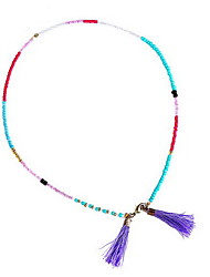 Sweet Style Multicolor Acrylic Bead Strand Bracelet  with Tissue Pendant