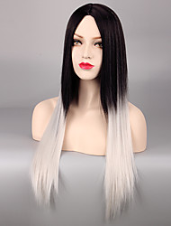 "Grey Ombre Wig False Hair Synthetic Wigs for Black Women 28"" Long Straight Natural Cheap Hair Kylie jenner Gray Wig"