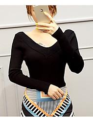 Damen Standard Pullover-Lässig/Alltäglich Einfach Solide Rosa Weiß Grau V-Ausschnitt Langarm Baumwolle Herbst Mittel Dehnbar