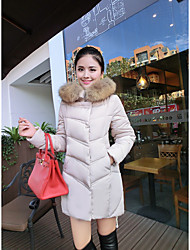 Women's Long Down Coat,Simple Street chic Going out Casual/Daily Solid-Polyester White Duck Down Long Sleeve Hooded