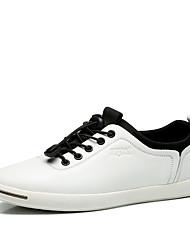 Masculino-Tênis-Conforto-Rasteiro-Preto Azul Branco-Couro-Casual Para Esporte