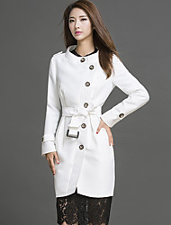 Women's Casual/Daily Simple Trench Coat,Solid Stand Long Sleeve Fall White Polyester Thick