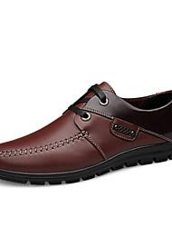 Masculino-Oxfords-Rasos-Rasteiro-Preto / Marrom-Napa Leather-Casual