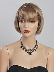 Blonde Color Short Straight Wigs Capless Synthetic Wigs For Women