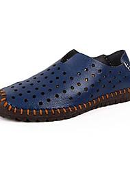 Masculino-Sapatos de Barco-Rasos-Rasteiro-Azul / Marrom / Branco-Couro-Casual