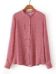 Mulheres Camisa Casual Vintage Todas as Estações,Estampado Vermelho Poliéster Colarinho Chinês Manga Longa Média