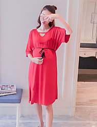 Maternity Holiday Simple Loose Dress,Solid V Neck Knee-length Short Sleeve Red Cotton Summer