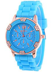 Mulheres Relógio de Moda Relógio Casual Simulado Diamante Relógio Quartzo imitação de diamante / Rosa Folheado a Ouro Silicone Banda