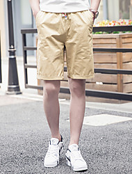 Men's Solid Casual Shorts,Cotton / Polyester Brown / Green / Pink / Red / White / Gray